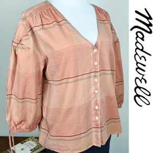 Madewell Morningview Peach Plaid Tie Sleeve Shirt